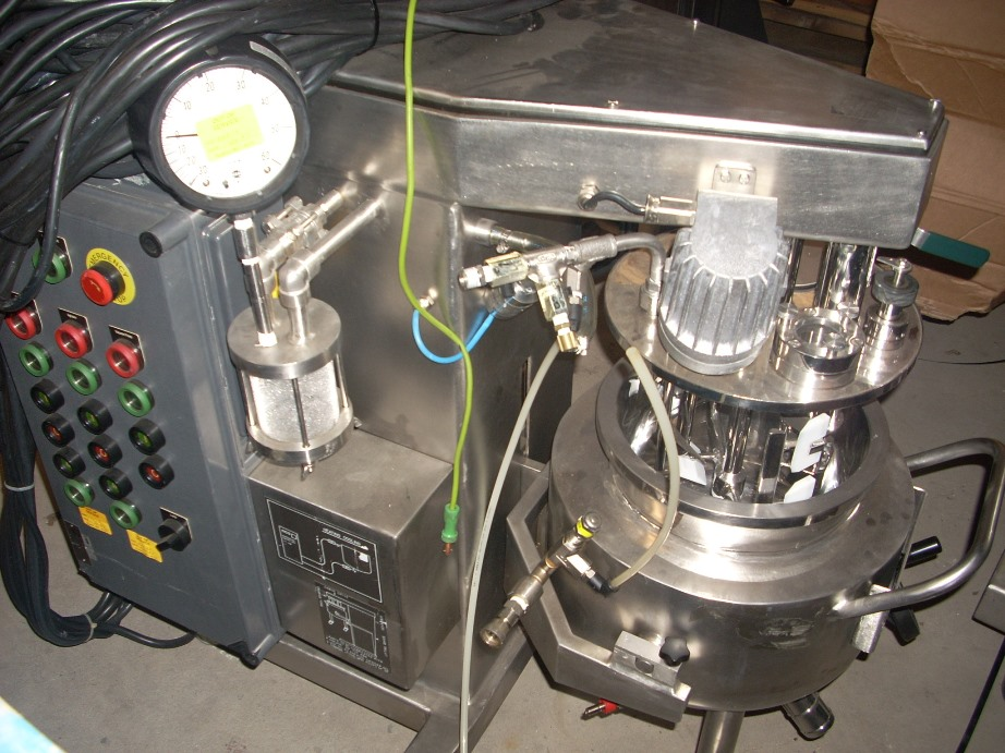 Used Brogli Multi Homo mixer.  Stainless steel contacts.  Model Multi Homo Type MH10C.  10 liter working capacity. .28 kw/.37 kw motor 3 phase 60 cycle 208 volt. Triple motion agitator. Anchor Hi/Lo Scraper.  Spiral Agitators. Homogenizer. 3 phase 60 cycle 208 volt. 1600/3400 rpmTop mounted light.  Mixer bowl rated 25 psi / Full vacuum @ 400 degrees F.  Jacket rated 43.5 psi @ 400 degrees F.  Serial Number WO2762.  Built 1987.  Bowl mounted on castors with manual lift.  Vacuum pump inside control cabinet.  Controls.  Serial Number 2762. Pharmaceutical Mixer, internal polished.