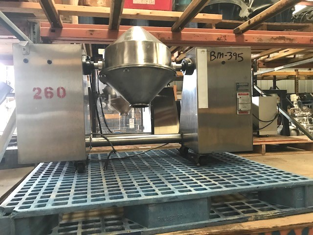Used Gemco Model LB-85687 Double Cone Blender/Mixer. 16 Quart, approx. .5 CU.FT.  Stainless steel. Shell is 14