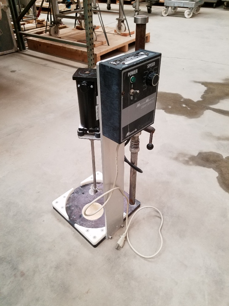 used Lab Mixer on stand with variable speed explosion proof (UL, XP) controller. Stand has base for 11.5
