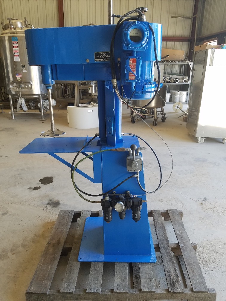 *15% OFF* used High Speed Disperser built by Premier. Model D25 Dispersator, s/n D25-0019. Great for mixing 5 gallon buckets.  Driven by 1.5 HP, 3450 RPM, 208-230/460 V, UL rated explosion proof XP motor.  Stainless Steel shaft is approx. 12