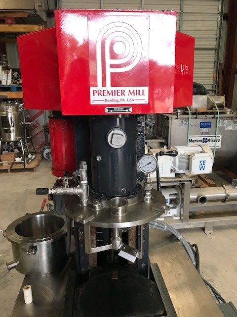 ***SOLD*** Used 2 Gallon Premier Mill Dual Shaft Vacuum Mixer. Model ESD/V-2/1. Jacketd mix can. Has Scrape mixer and high shear Disperser. Drives are UL for Hazardous Locations (Explosion Proof) Drives are 2 HP, 230/460 volt, 3 ph, 5.2/2.6 amp, 1730 RPM and 1 HP 230/460 volt, 3 ph, 2.8/1.4 amp 1750 rpm.  Both drive have vari-speed controllers and can be run together or independent. Last used in sanitary food plant.