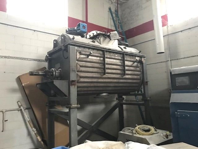 ***SOLD*** used 70 Cu.Ft. Jacketed Vacuum Rated Ribbon Blender/Vacuum Dryer, built by Expert Ind. Hastelloy C276.  Internal rated Full Vacuum @300 Deg.F. 304SS Jacket rated 70 PSI @ 300 Deg.F.  Trough is 95