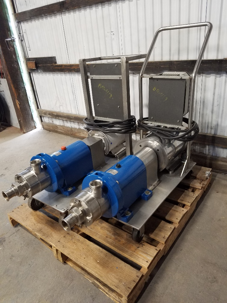 used Waukesha Cherry Burrell In line Shear Pump/Mixer, Model SP4, used. 316 Stainless Steel. Nominal capacity to 30 gallons per minute at 150 psi at 3600 rpm to 300 degrees F. 2