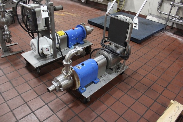 used Waukesha Cherry Burrell In line Shear Pump/Mixer, Model SP4, used. 316 Stainless Steel. Nominal capacity to 30 gallons per minute at 150 psi at 3600 rpm to 300 degrees F. ___ inlet/outlet. Approximately 4.5