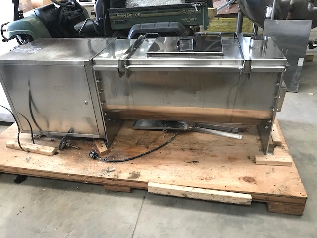 used 7.5 Cu.Ft. Stainless Steel Ribbon Blender.  Trough is 20
