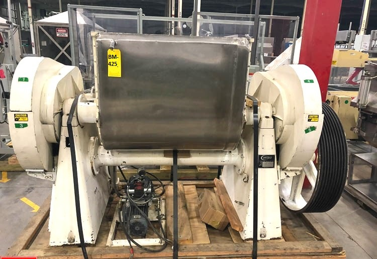 used Jaygo Jacketed Double Arm/Sigma Blade Mixer/Blender, Model M57. 350 liters (92 Gallon) working capacity (top of blades in vertical position). 500 liters total capacity (top flange).  S/N 107016. Requires a 20 to 45 HP Drive. Built 2008. Last used in sanitary plant.