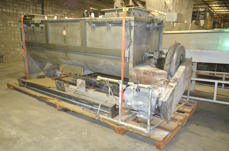 used 120 Cu.Ft. S. HOWES Stainless Steel Ribbon Blender. Driven by 40 HP, 208-230/460 volt motor into Gear reducer.  Trough is 144