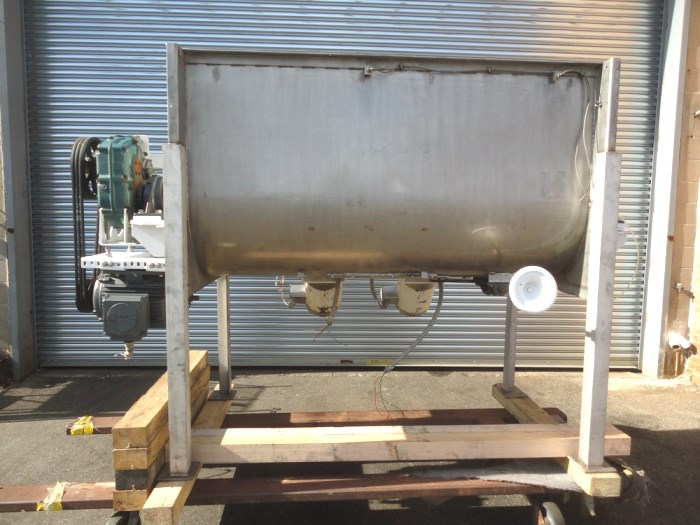 used 35 Cu.Ft. Marion Sanitary Stainless Steel Paddle Blender with (2) high speed choppers. Trough has a center bottom outlet (with slide valve), and it is 32