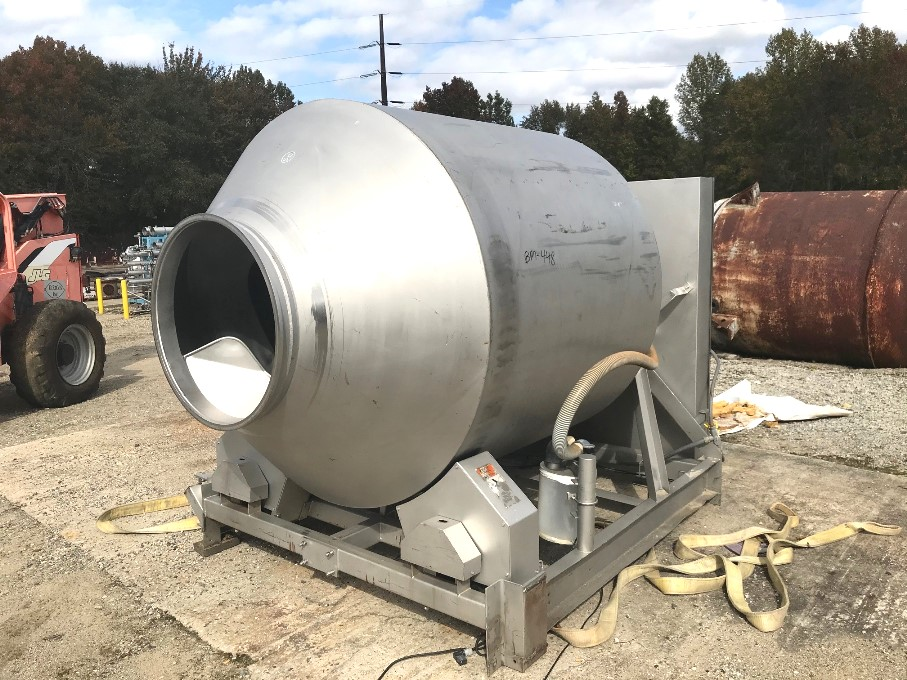 ***SOLD*** used Blentech Stainless Steel Vacuum Meat Tumbler/Marinator. Model VT1-3000-S. S/N 970676 with Aprox. 8 ft. L x 67