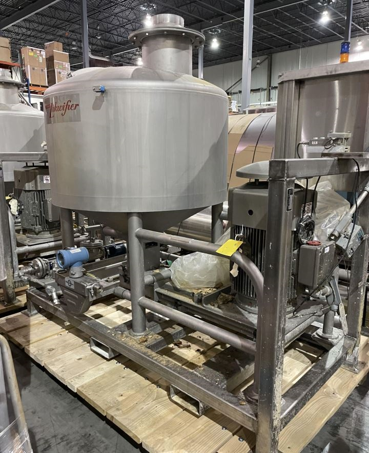 Breddo 200 gallon Likwifier/ Liquifier/Liquefier Model LOR-200.  S/N D-573996 2 13115. Includes Micromotion Flow Meter and Feed Pump.  Last used in food plant.