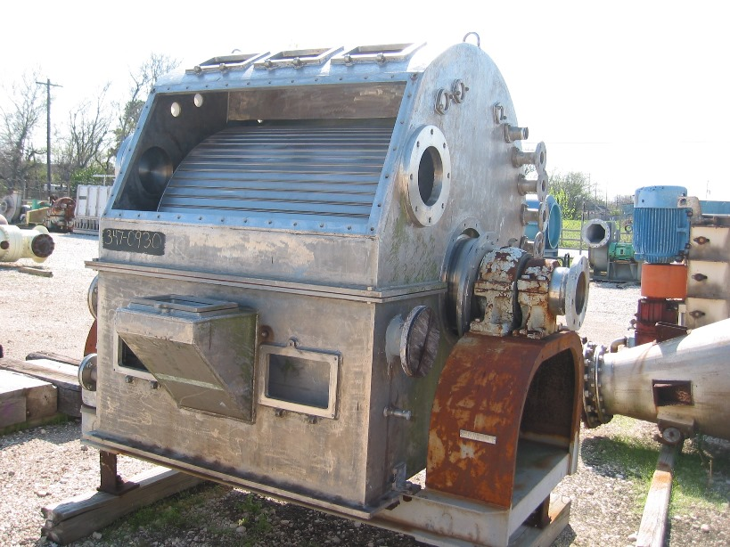 used 4' Dia.X 3' Bird, Enclosed rotary vacuum drum filter. Built 1997.  Knife and blow back cake discharge. Was a spare and has NO drive or VAC pump.