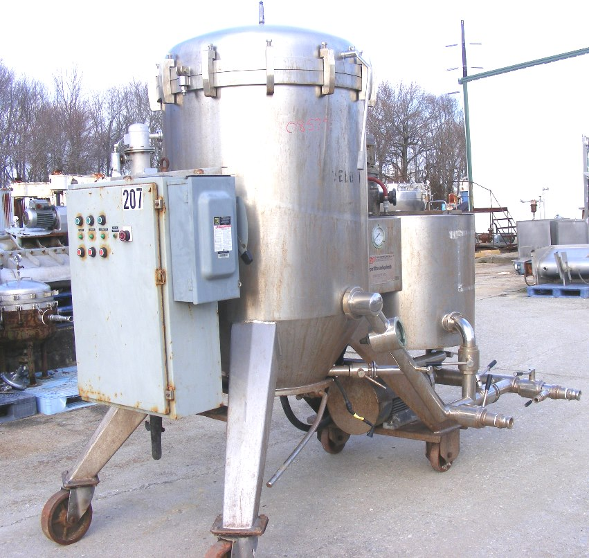 ***SOLD***used VELO Vertical Pressure Leaf Filter. Model F-20 Superfiltro Autopulente (Self-Cleaning). Has dosing vessel with mixer and pump. These type of units are used in sanitary application for Wine, (Brewery) Beer, Wort, Vinegar, Fruit Juice and Oil.  Rated at approx. 300 HL (8000 Gal.)/HR. for Wine and 110 HL (3000 Gal.)/HR for Beer.