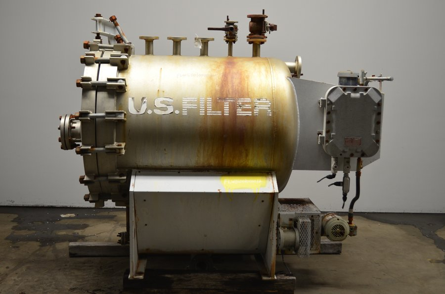 used US FILTER Pressure Leaf Filter. Rated 150/FV PSI @ 250 deg. F. Min. Design Metal Temp. -20 deg. F @ 150 PSI. Hydro. Test @ 228 PSI. Serial Number 11-7853 Year 1997. No Elements. New elements can be ordered to suit.