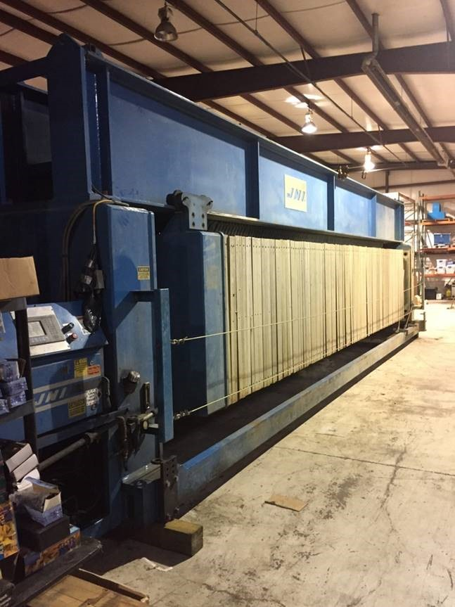 used 225 Cu.Ft. JWI Filter Press.  (117) 1500 mm gasketed recessed plates.  Center feed, 4 corner return.  Automatic hydraulic closure and automatic pendant plate shifter.  100 psi max feed pressure.  Model 1500G32-117-225SYLO.  Serial number 4427.  This press is offered either as-is at price below or reconditioned with a 30 day warranty at an additional cost.  Please inquire for reconditioning cost