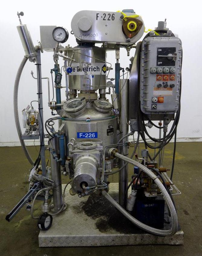 Used- Guedu Pilot Filter Dryer, Approximately 0.21 Square Meter (100 Liter), 316 Stainless Steel, Vertical. Chamber approximate 24