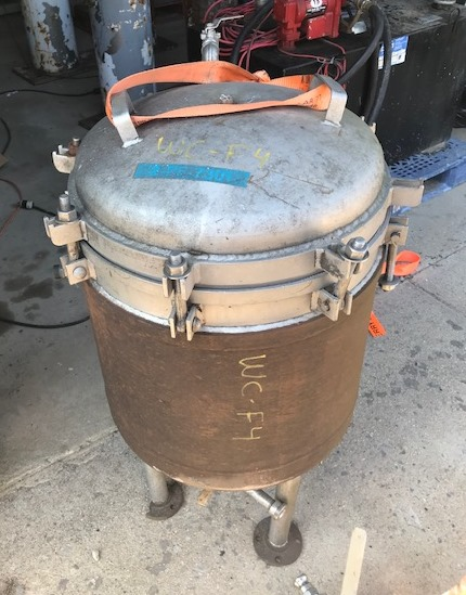 Sprakler/pressure leaf type filter.  Unit is Jacketed. No nameplate. Unit is approx 20