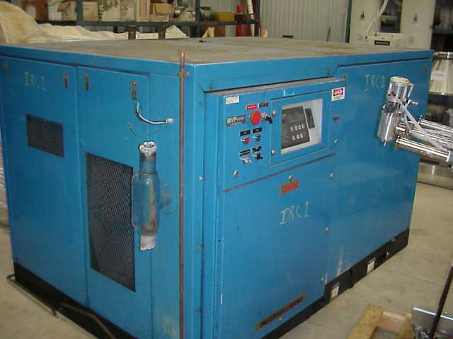 (1) INGERSOLL RAND model OCV4M2E 125 HP compressor.  100 PSI.  Unit driven by Reliance 125 HP, 3575 RPM, 460V motor.