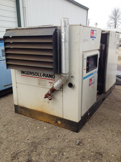 used Ingersoll Rand Compressor Model SSR-EP150. Rated 670 CFM, 125 PSI.  150 HP Drive motor and 7.5 HP fan motor. Air cooled. 460 Volt.