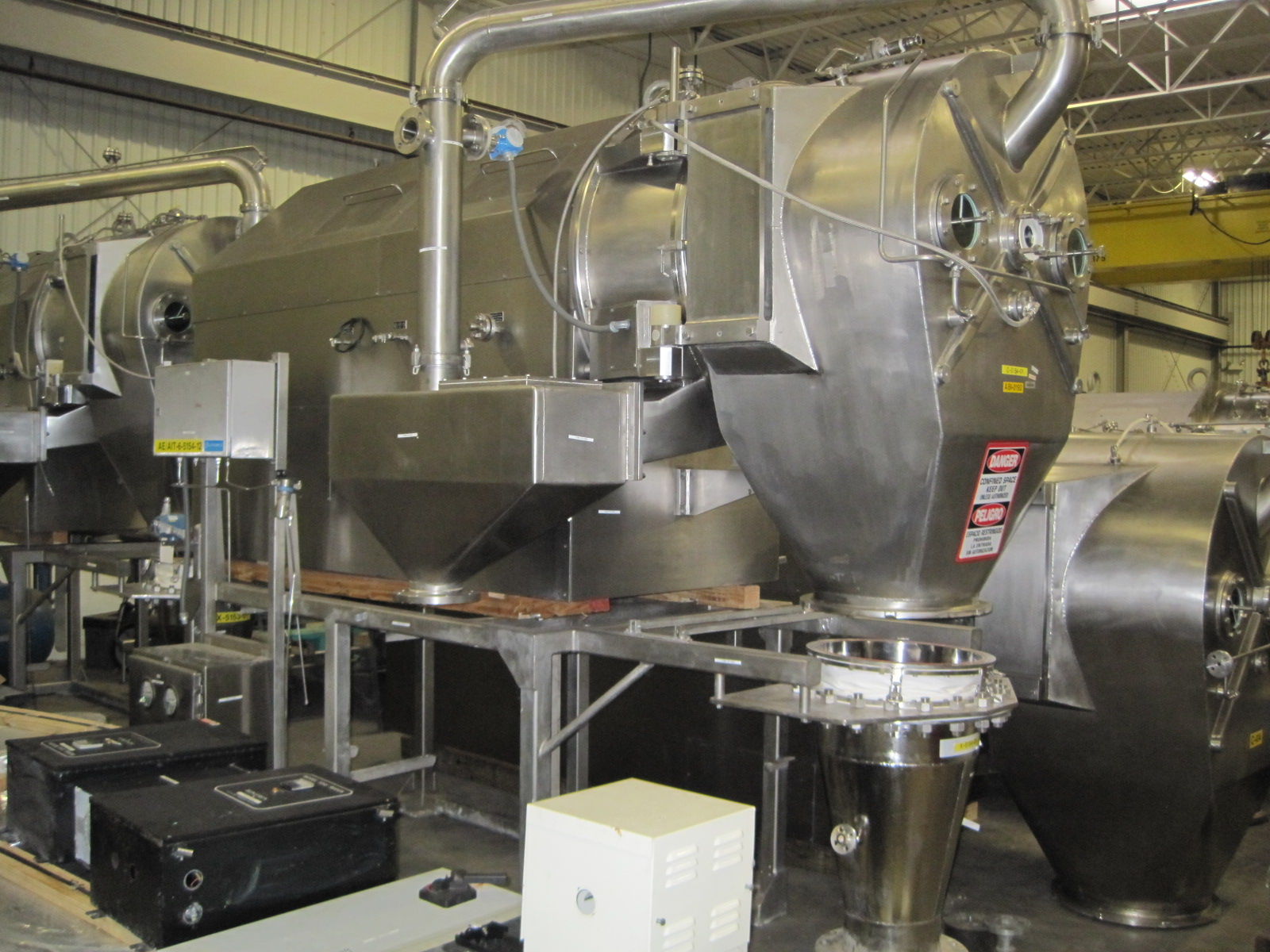 SOLD  HEINKEL Model HF800.1 Pharmaceutical Grade Inverting Filter Centrifuge.  Contact Parts are (1.4571) 316/Ti Stainless Steel. Inner Bowl Dia. 800mm. Capacity 149KG/119L. 1600 RPM Max Drum Speed. G-Force 1138 G's.  All Electrical unit Complete with Controls.