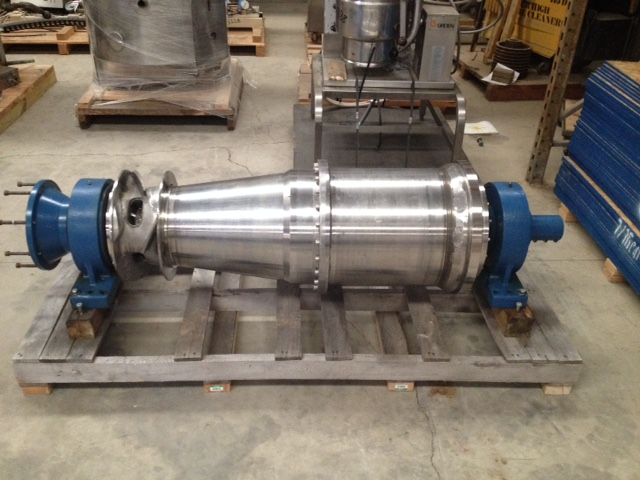 Used Flottweg 2550 Decanter centrifuge rotating assembly without gear box. Stainless steel.