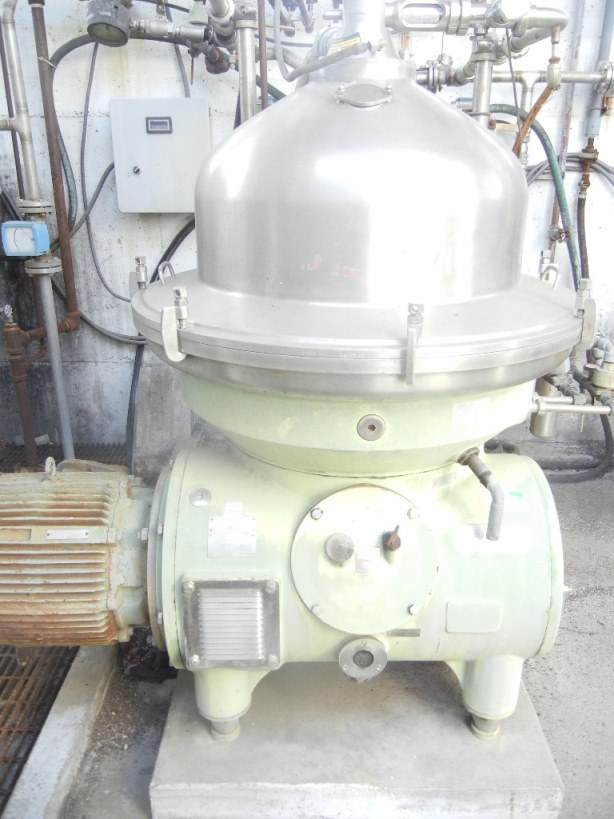 ***SOLD*** used Westfalia Disk Stacked Bowl Centrifuge. Model RSA150-01-076. 4500 RPM Bowl Speed. driven by 40 HP, 480 v, 1745 rpm motor. Built 1983. (GreenCat)