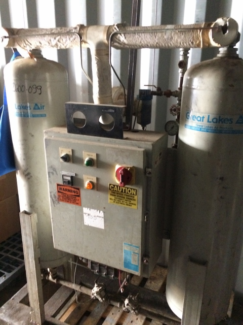 Used Great Lakes Air Products air dryer model GEH-125.  Rated 125 SCFM @ 100 PSI.  3 phase 60 cycle 460 volt.  SN 17541.