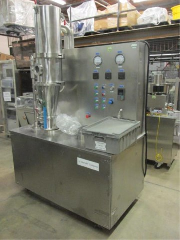 Used Mendel Model FBP-1 Fluid Bed Processor/Dryer. Capacity 0.5 to 3 Kilos.  Main features: Integrating mixing, spray drying, top spray granulation, bottom spray granulation, film coating and fluidized bed drying. Has Spray Granulator Insert.  240 volt, 3 Phase, 60 Hz, 7.5 KW. 4-6 Bar. Last used in Sanitary Pharmaceutical plant.