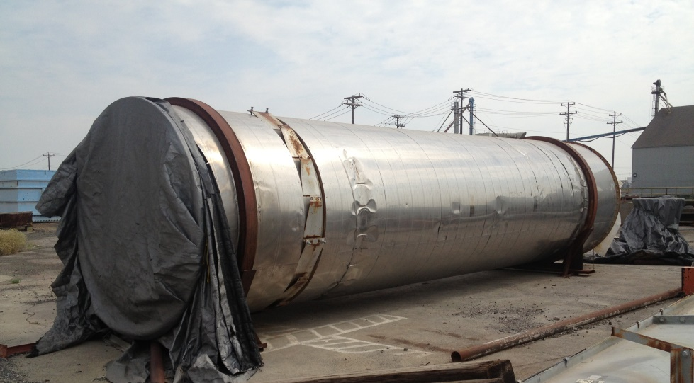 Used FMC Link Belt Roto-Louvre #502-20 R-L Dryer. 8' diameter x 30' long. Carbon steel interior, stainless steel exterior. 10 hp drive with 30 RPM output.