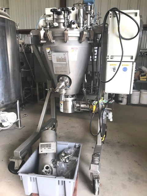***SOLD*** used Conical Screw Nauta Vacuum Dryer, Portable 73 liter 316L Stainless Steel Bolz Summix with Filter. Pilot Plant size, 15 Liter working capacity. Mdl. Lab Dryer ML001-Unit. Built 2005. S/N: WK317670. Internal Rated -1/1 bar at 0 to 110 degree C.; Jacket rated -1/6 bar at 0 to 110 degrees C.. Bottom ball valve discharge, and side flush sample valve. Mixer mounted in a SS stand on wheels with starter and power cord. Includes Bolz 5l jacketed filter. Last used in sanitary application.