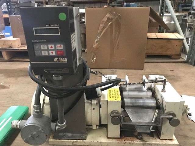 used Ross 3 Roll Mill, Bench Top Model 2.5x5 TRM. Has stainless steel type 440C hardened precision ground rolls with adjustable Teflon end plates. 0.5 HP. 208-230/460 volt Explosion Proof (XP) motor. Rolls are cored to allow water cooling or heating.