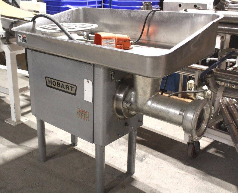 used Hobart Meat Grinder, Model 4152, S/N 11-260-817. 7.5 HP, 200 v, 3 ph.  Capacity of 85 to 90 pounds of beef per minute first cutting through a 1/8 inch plate. 70 to 75 pounds of beef per minute second cutting through a  1/8 inch plate. Ideal for continuous service in super markets and other high volume processors. Completely enclosed motor and transmission. There is no crushing of the meat in the grinding end. Last used in Sanitary Food Plant.