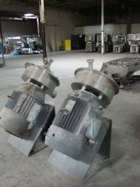 ***SOLD***Qty.(2) Each: Used RIETZ Disintegrators (Hammer Mills) Model RP-12-K-122.  Units Mounted on a 45 Deg. angle. 