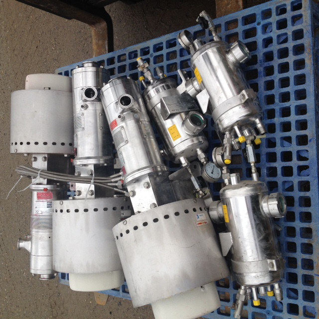 (3) IKA Dispax Reactors model DR2000/5 Inline High Shear Mixing/Milling units rated at 2500 l/h (660 GPH). Last used in toothpaste plant (Sanitary Application). The IKA DISPAX-REACTOR DR 2000 is a three-stage (3 sets of rotors) high shear inline dispersing machine used for the production of very fine emulsions and suspensions. Applications include: Neutralization & PH adjustment, Tooth paste, Salt solutions, Edible oil refining & degumming, Shampoos & Conditioners, Polymerizations, Pesticides, Herbicides, Reaction Enhancements, Microencapsulations, Viscosity Control, Creams, Lotions, Fuels.
