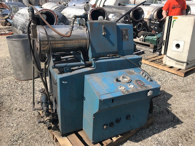 Used Netzsch horizontal media mill model 15-5.  20 Hp main motor.  1.5 Hp Pump motor.  Built 1980.  Serial number. 001.