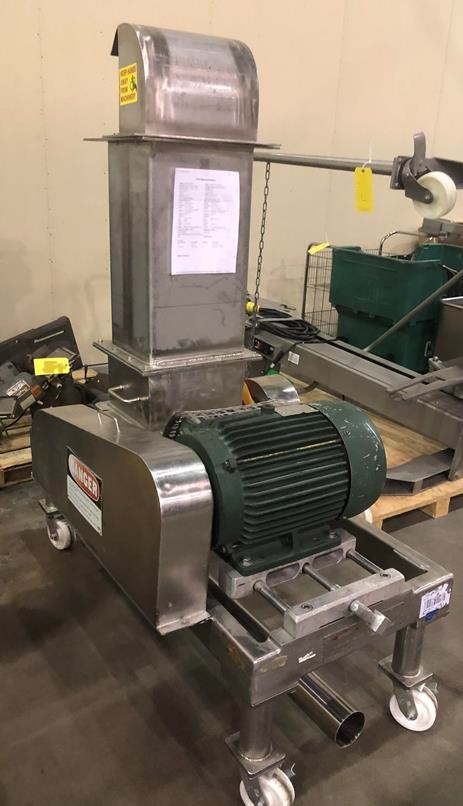 used Fitzpatrick Fitzmill Comminutor Hammer Mill, Model DKASO12, S/N 9887. Driven by 20 HP, 230/460, 1770 rpm motor. Last used in Sanitary Food Plant.