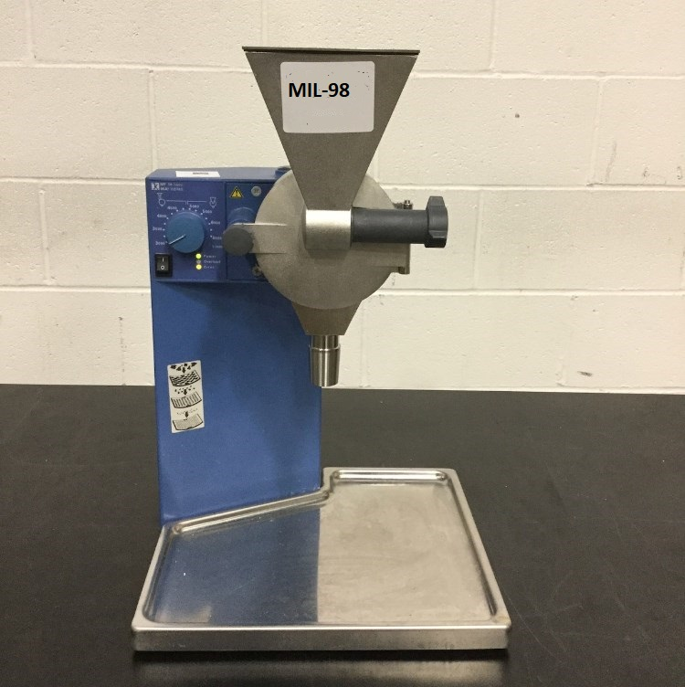 used IKA Microfine grinder. Model MF10 BASIC S1.  Electrical 115V, 50/60Hz, 1000W, 6500 RPM. Has housing with feeder, No grinding rotor.