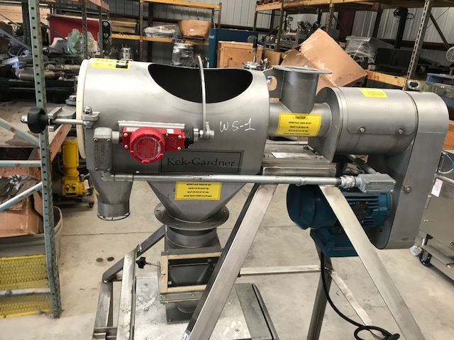 used KEK-Gardner Rotary Sifter model K300C. Stainless Steel. Unit has 1 HP 208-230/460 volt UL labeled motor for hazardous locations. Unit missing parts such as cover door, feed screw.  Has Bunting Metal detector which also may be missing parts.