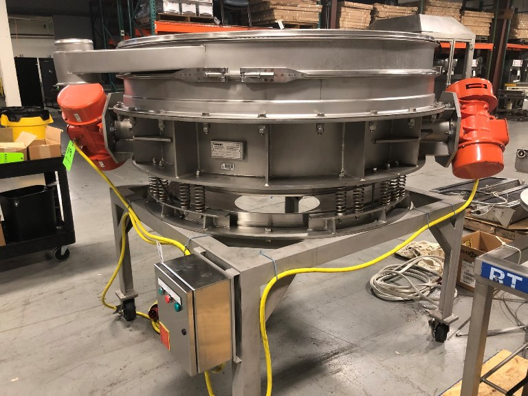 ***SOLD*** used 60 Inch Kason Sanitary Stainless Sifter/Separator/Screener, Model K60-1FT-SS, S/N K-10930T, Vibroscreen Flo-Thru design. Portable Unit Mounted on Stainless Steel Frame with Casters. Built 2014. Last used in sanitary application in food plant.