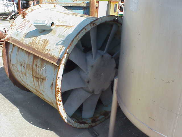 NY BLOWER (NYB), Vaneaxial fan/blower.  Carbon Steel housing, Aluminium wheel type.  Size 38.  Blade angle 35.0.  Arrangement 4-S.  Driven by 20 HP, 1800 RPM, 256T frame, TEFC, 3 Ph, 60 cyc, 230 V.