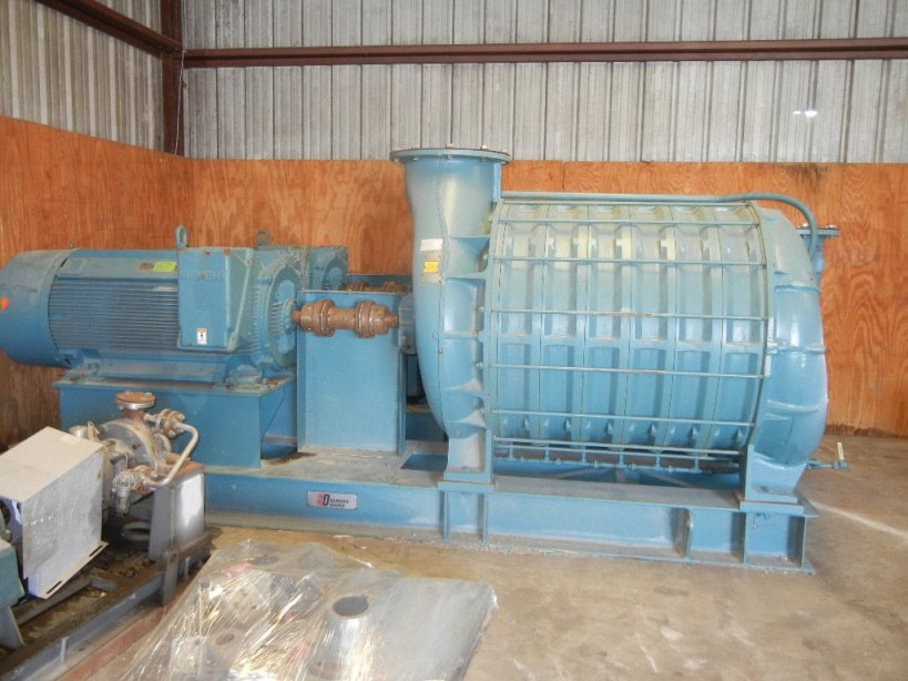 (2) 700 HP Gardner Denver/Lamson model 1877-AD01 Multistage Centrifugal Blowers. rated 7877 SCFM @ 14 PSI discharge. SO#678275, Driven by 700 HP, 3580 RPM, 4160 volt, 60 Hz Siemens motor. S/N #'s PO11562 and PO11563