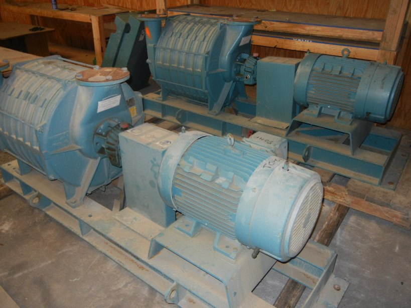 (2) 50 HP Gardner Denver/Lamson model 557-AD01 Multistage Centrifugal Blowers. rated 699 SCFM @ 5.5 PSI discharge. SO#678275, Driven by 50 HP, 3535 RPM, 460 volt, 60 Hz Siemens motor. Units appear unused.