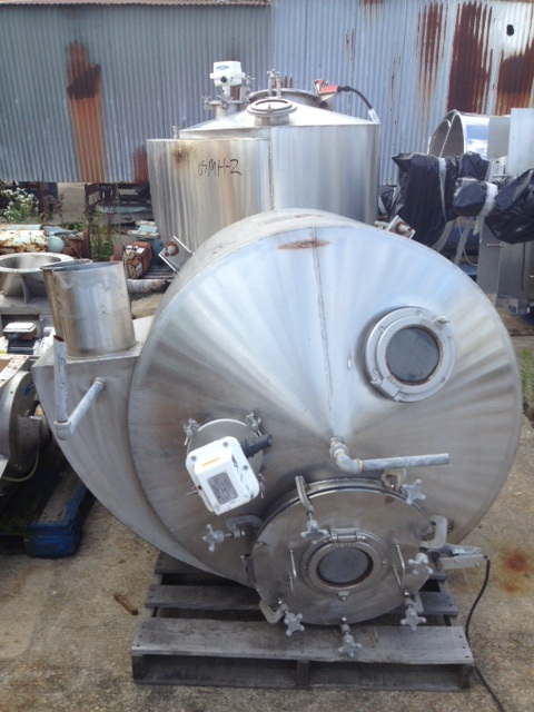 FEED HOPPER.  (2) Each. Reyco Pneumatic Systems. 4' dia. x 3' T/T with cone bottom to a 14