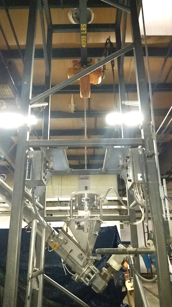 Used NuCon Super Sack/Bulk Bag Unloader. Unit includes Controls, Sanitary Stainless Steel Screw discharge which is 6