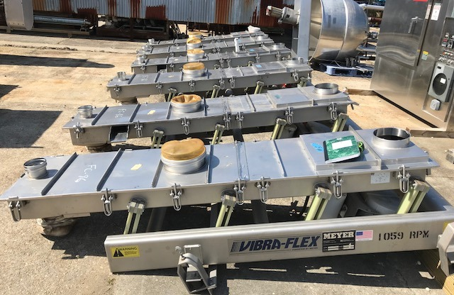 (7) used Meyer Ind. Vibrating Conveyor/Feeders. Model VF11-18-6. Bed is approx. 18