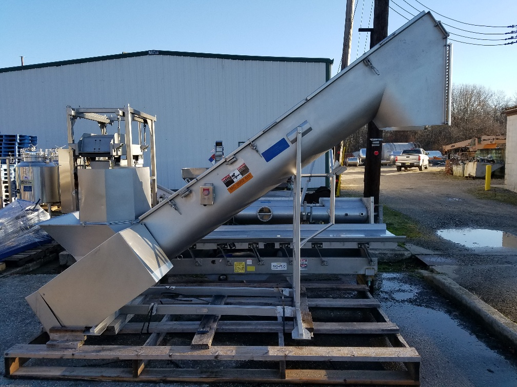 used Inclined Screw Feeder, Stainless Steel. 16