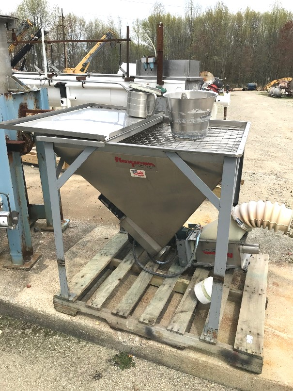used Flexicon Flexible Screw Feeder with Explosion proof motor and Stainless Steel Hopper. Hopper is 3' x 3'x 3' deep.  Has 9' Overall length Flexible screw.  Plastic conveyor tube housing is cracked and needs to be replaced. 2 HP, 208-230/460 volt XP motor.