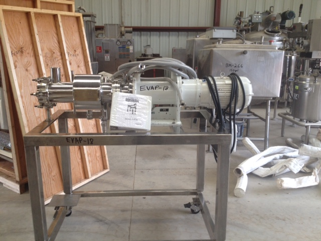 ***SOLD***Used ARTISAN 1 Square Foot Rototherm Thin Film Evaporator. Stainless steel construction. Rated at 60 PSI/FV @ 300 Deg.F. internal. Jacket rated at 100 psi @ 300 Deg.F.  NB# 2346. S/N 86095. Motor is 0.5/3 HP, 175/1175 rpm, 42-230/84-4 volt, 3 Ph. UL Calls 1 Group C&D for Hazardous locations (XP). Has Reliance SP500 VS-drive. Mounted on Stainless steel frame on wheels. Last used in sanitary pharmaceutical application. Overall dimensions are approx. 6' Lgth. x 3' wide x 5'2